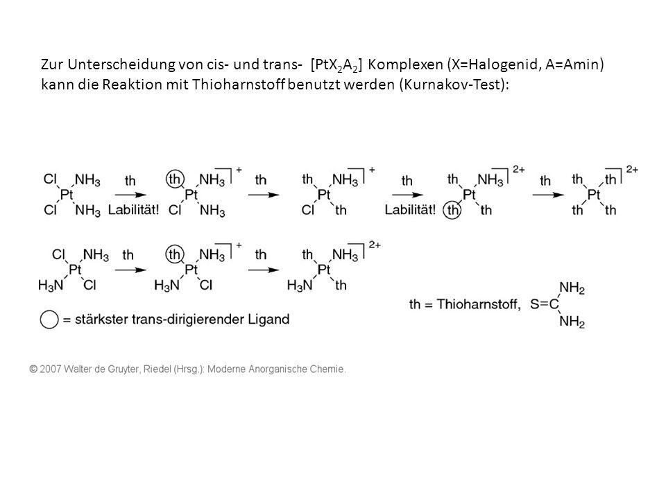 Zur Unterscheidung von cis- und trans- [PtX2A2] Komplexen (X=Halogenid, A=Amin) kann die Reaktion mit Thioharnstoff benutzt werden (Kurnakov-Test):
